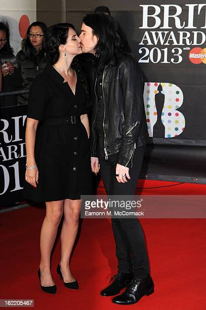Lana Del Ray and boyfriend Barrie James O'Neil kiss on the red carpet at the Brit Awards 2013 at the 02 Arena on February 20 2013 in London England