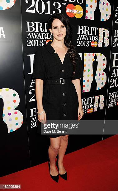 Lana Del Rey arrives at the BRIT Awards 2013 at the O2 Arena on February 20 2013 in London England