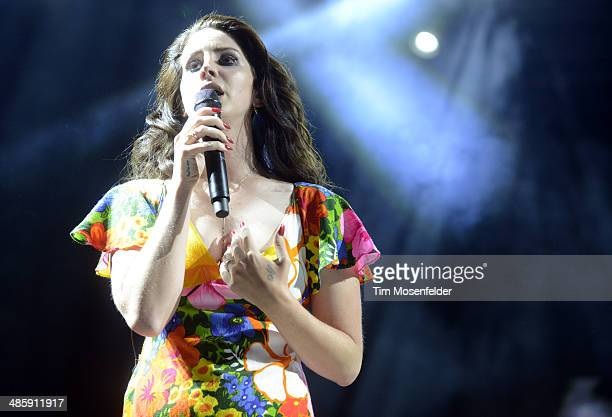 Lana Del Rey performs as part of the Coachella Valley Music and Arts Festival at The Empire Polo Club on April 20 2014 in Indio California
