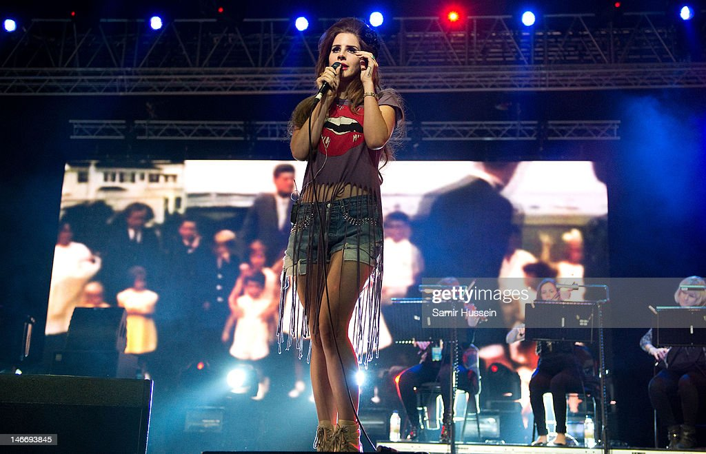 Lana Del Rey performs in the Big Top on day 2 of The Isle of Wight Festival at Seaclose Park on June 22, 2012 in Newport, Isle of Wight.