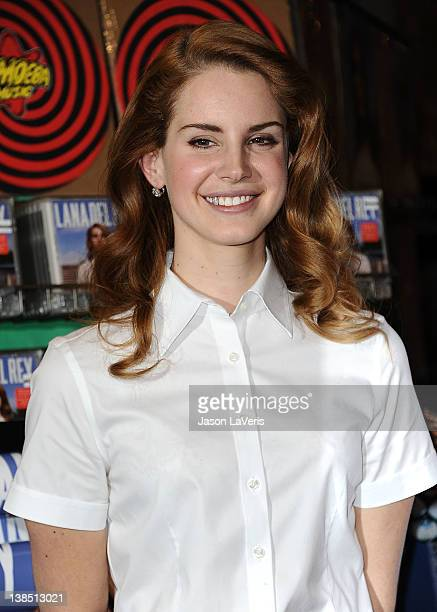 Lana Del Rey poses for photos after her performance at Amoeba Music Hollywood to celebrate her debut album 'Born To Die' on February 7 2012 in...