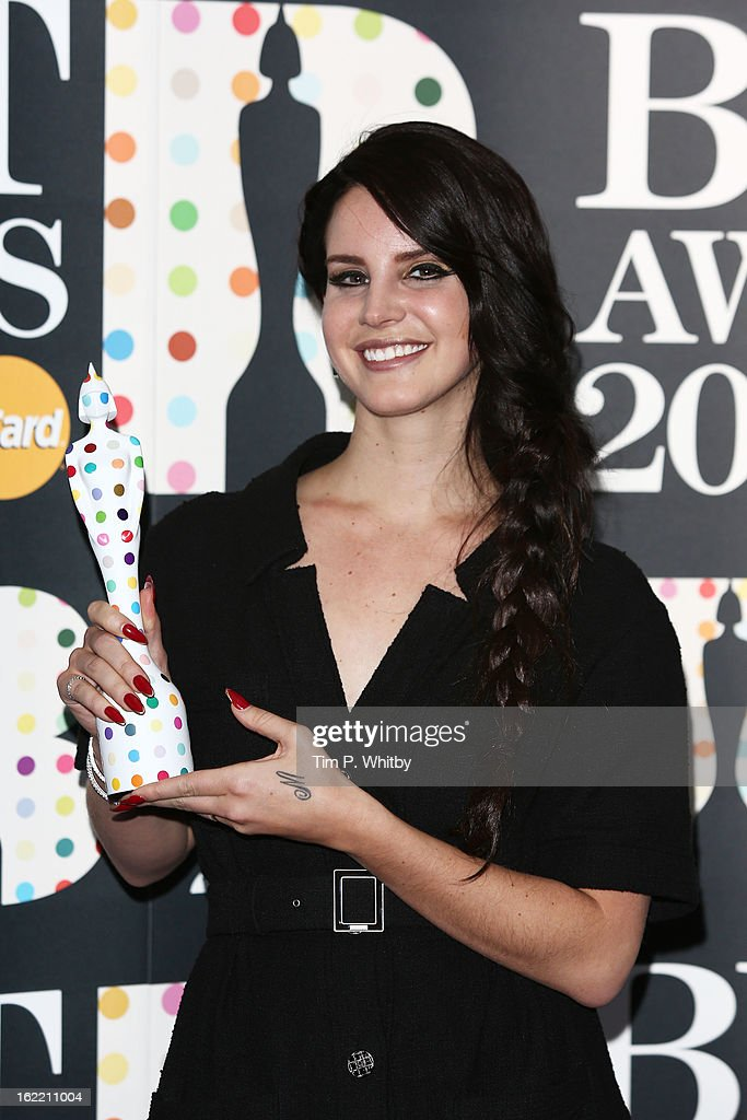 <a gi-track='captionPersonalityLinkClicked' href=/galleries/search?phrase=Lana+Del+Rey&family=editorial&specificpeople=8565478 ng-click='$event.stopPropagation()'>Lana Del Rey</a> poses with the International Female Solo Artist award in the press room at the Brit Awards 2013 at the 02 Arena on February 20, 2013 in London, England.