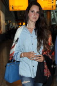Lana Del Rey seen arriving at Heathrow Airport on June 12 2014 in London England