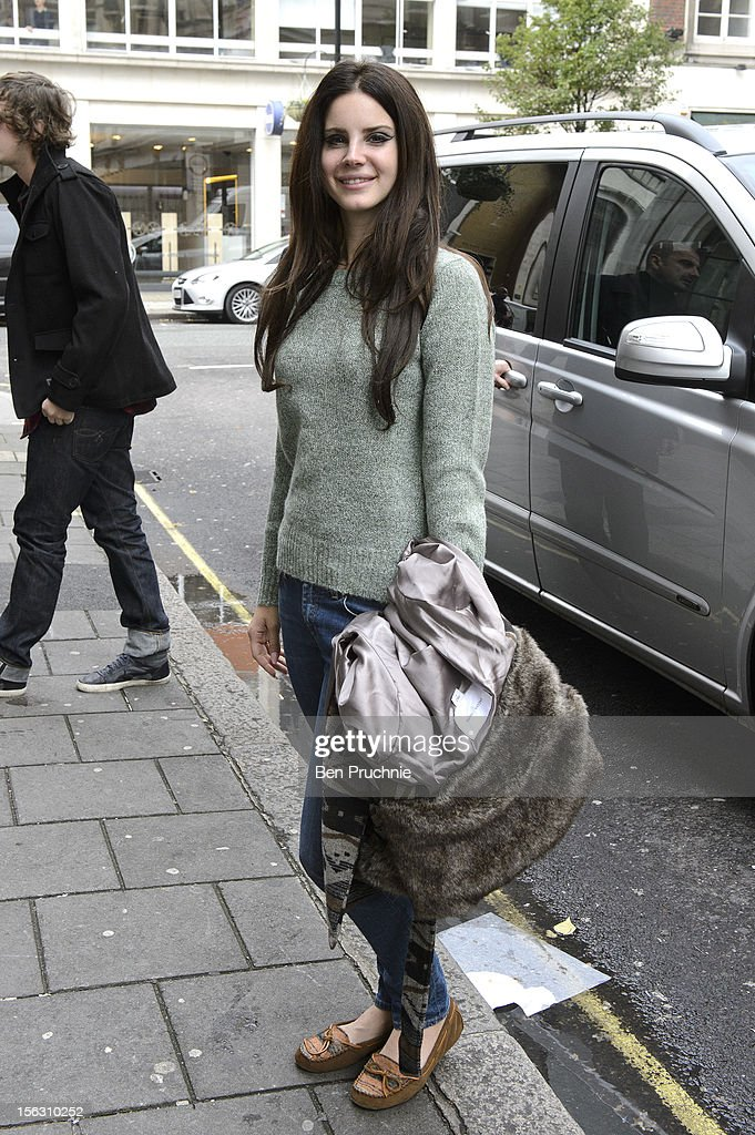 <a gi-track='captionPersonalityLinkClicked' href=/galleries/search?phrase=Lana+Del+Rey&family=editorial&specificpeople=8565478 ng-click='$event.stopPropagation()'>Lana Del Rey</a> sighted arriving at BBC Radio One on November 13, 2012 in London, England.
