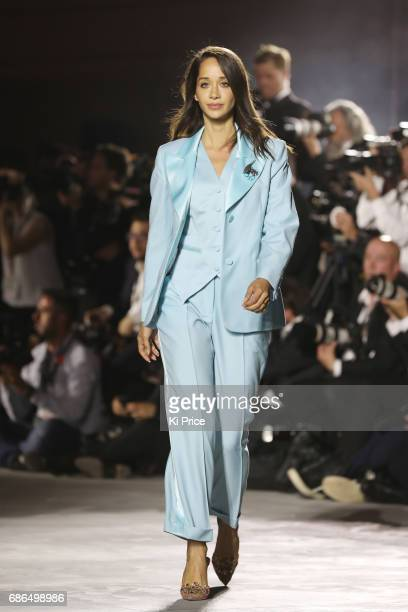 Lana El Sahely walks the runway at the Fashion for Relief event during the 70th annual Cannes Film Festival at Aeroport Cannes Mandelieu on May 21...