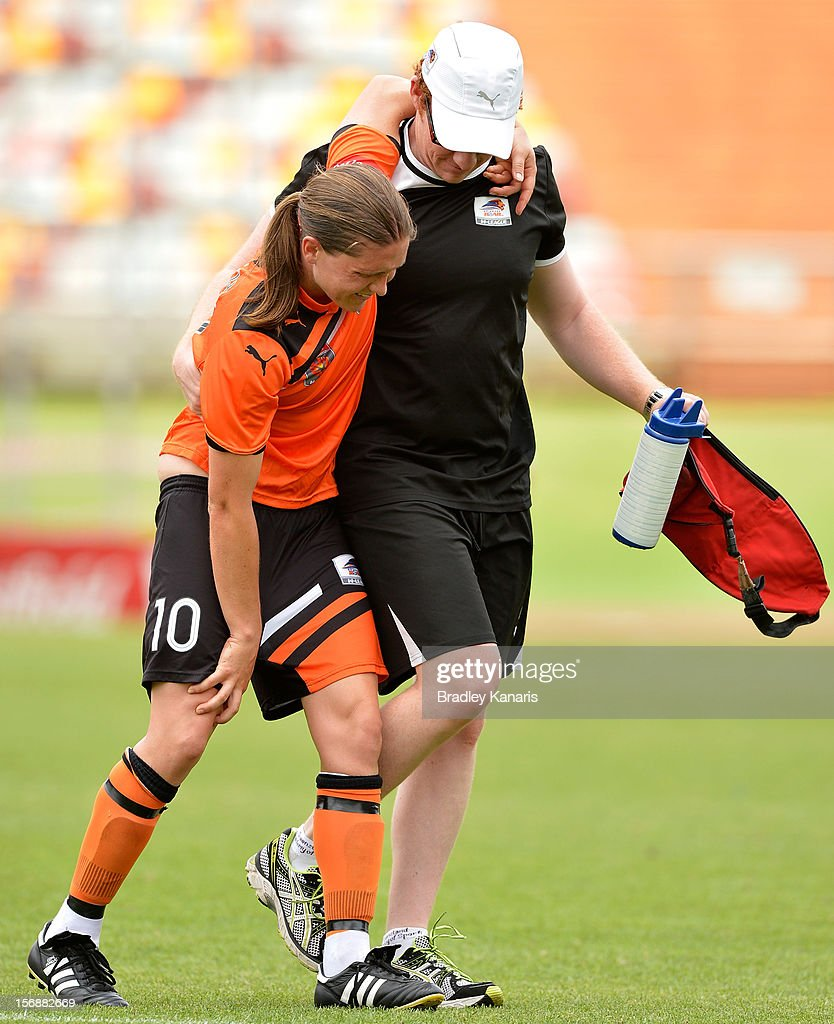 Lana Harch of the Roar is taken from the field with a leg injury during the round six W-League match between the Brisbane Roar and the Melbourne Victory at the Queensland Sport and Athletics Centre on November 24, 2012 in Brisbane, Australia.