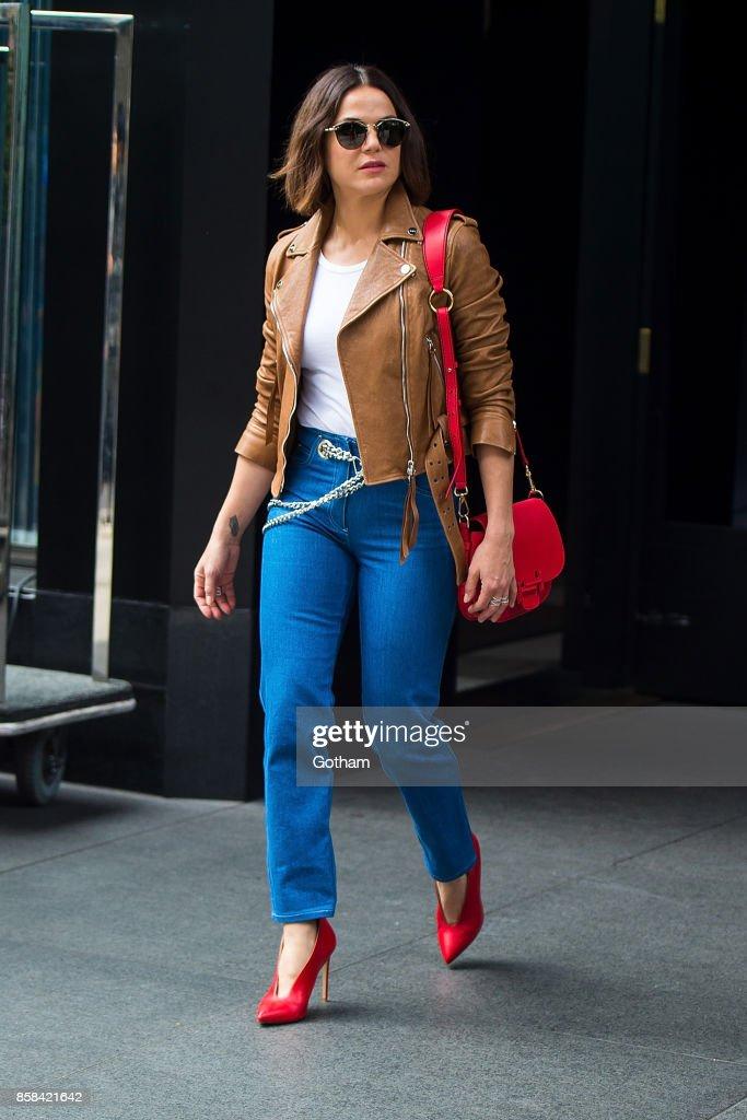 Lana Parrilla is seen in Midtown on October 6, 2017 in New York City.