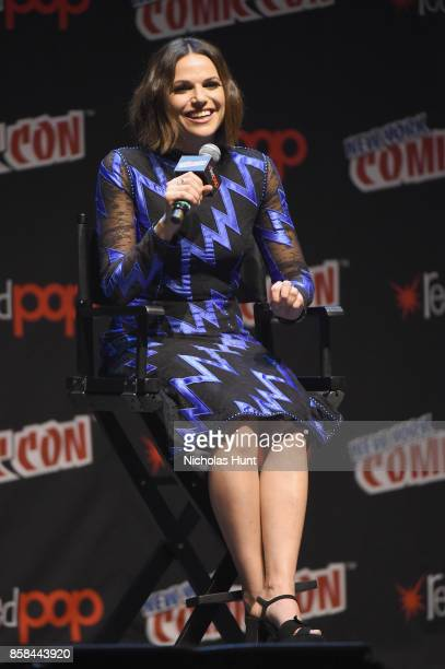 Lana Parrilla speaks onstage during ABC's Once Upon a Time during 2017 New York Comic Con on October 6 2017 in New York City