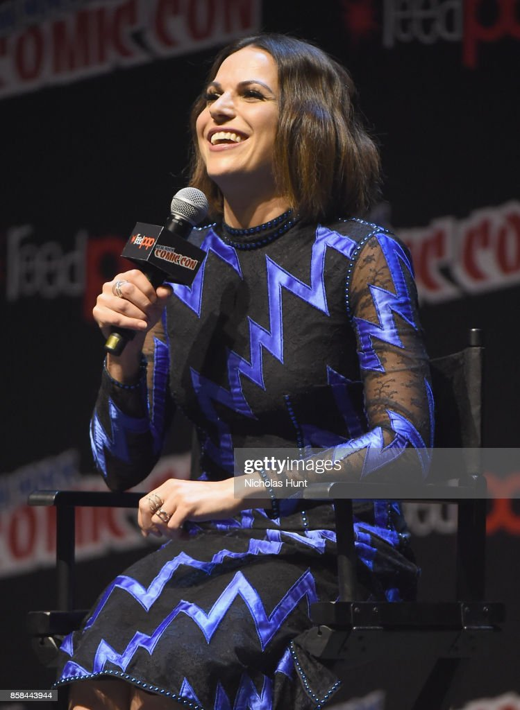 Lana Parrilla speaks onstage during ABC's Once Upon a Time during 2017 New York Comic Con on October 6, 2017 in New York City.