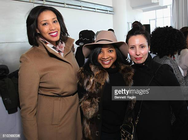 Lanaia Edwards Asha Harris and Bonnie Beer pose during SheaMoisture at Laquan Smith F/W 2016 NYFW at Jack Studios on February 14 2016 in New York City