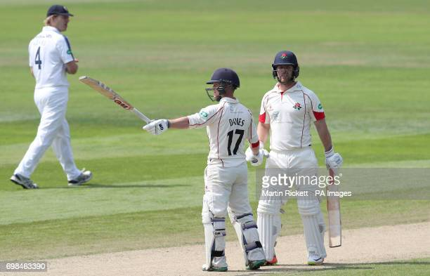 Lancasahire's Alex Davies celebrates his half century against Hampshire during day two of the Specsavers County Championship Division One match at...