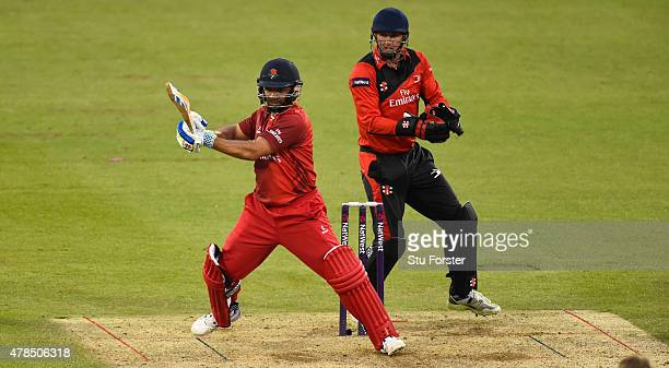 Lancashire batsman Ashwell Prince hits out watched by Phil Mustard during the NatWest T20 blast between Durham Jets and Lancashire Lightning at...