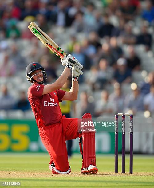 Lancashire batsman James Faulkner hits out during the NatWest T20 blast match between Birmingham Bears and Lancashire Lightning at Edgbaston on July...