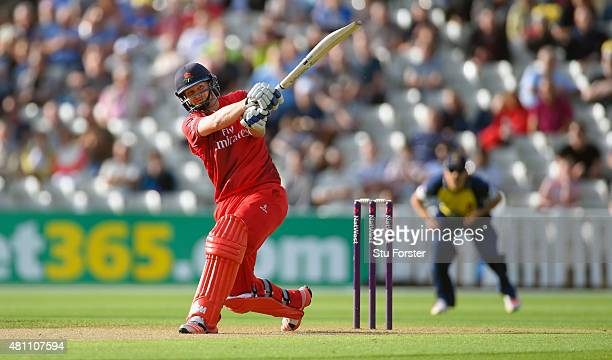 Lancashire batsman Karl Brown hits a six during the NatWest T20 blast match between Birmingham Bears and Lancashire Lightning at Edgbaston on July 17...