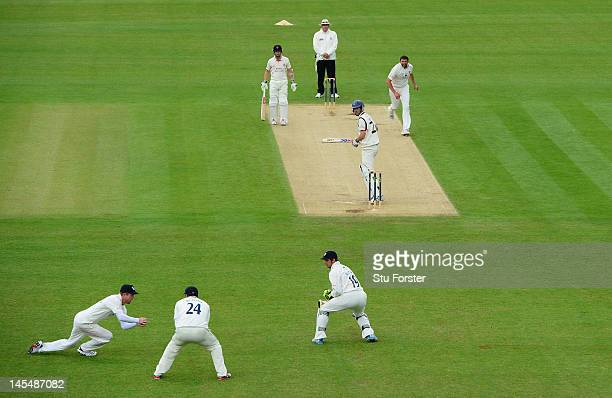 MAY 31 MAY 31 Lancashire batsman Kyle Hogg edges a ball from Steve Harmison to be caught at slip by Paul Collingwood during day two of the LV County...