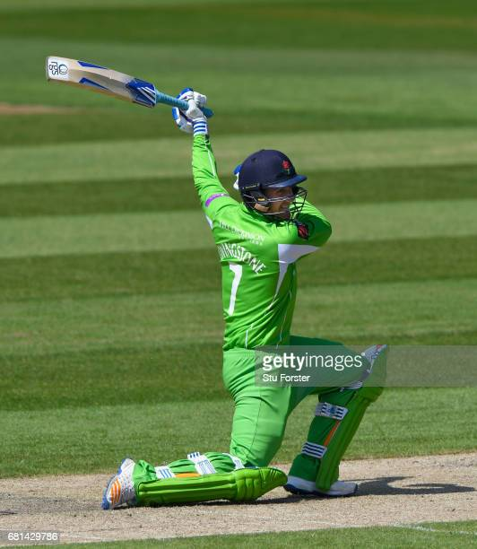 Lancashire batsman Liam Livingstone cover drives one handed a shot the boundary for 4 runs during the Royal London One Day Cup match between...