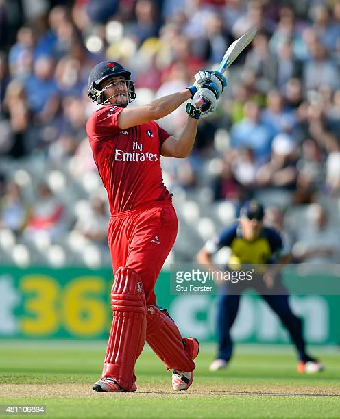 Lancashire batsman Liam Livingstone hits a six during the NatWest T20 blast match between Birmingham Bears and Lancashire Lightning at Edgbaston on...