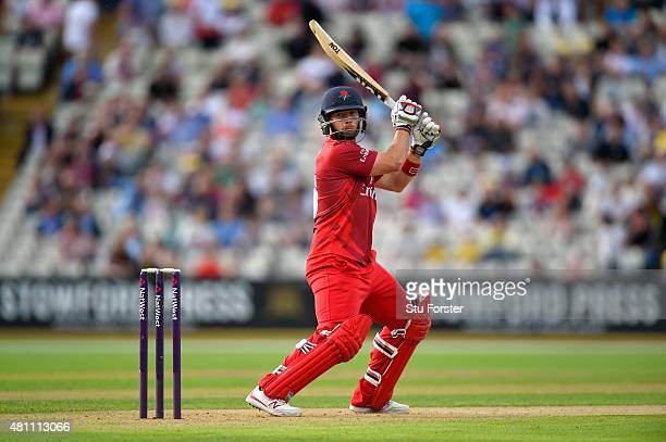 Lancashire batsman Steven Croft hits out during the NatWest T20 blast match between Birmingham Bears and Lancashire Lightning at Edgbaston on July 17...