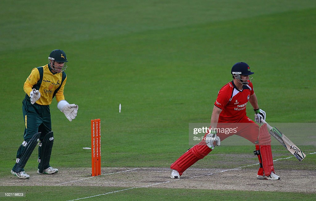 Lancashire batsman Steven Croft is bowled by Samit Patel as wicketkeeper Chris Read celebrates during the Friends Provident T20 match between Nottinghamshire and Lancashire at Trent Bridge on June 15, 2010 in Nottingham, England.