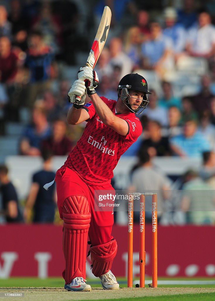 Lancashire batsman Tom Smith carves a ball through the covers to the boundary during the Friends Life T20 match between Yorkshire Carnegie and Lancashire Lightning at Headingley Carnegie Stadium on July 5, 2013 in Leeds, England.