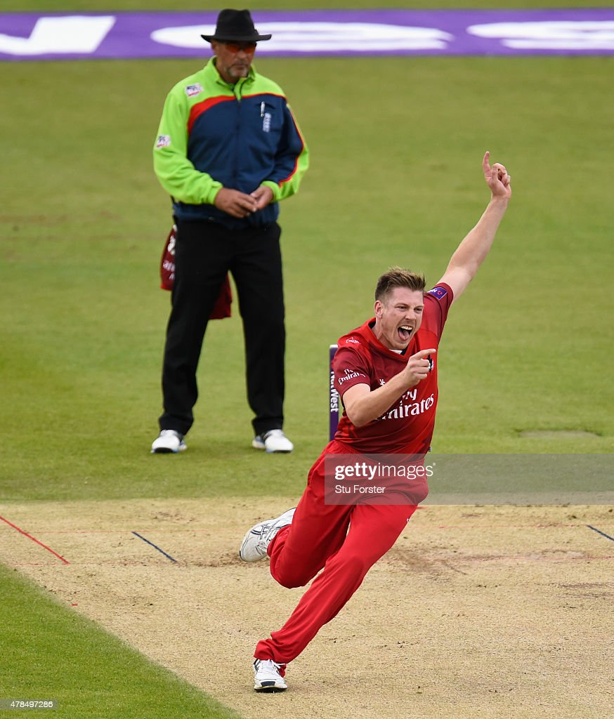 Lancashire bowler <a gi-track='captionPersonalityLinkClicked' href=/galleries/search?phrase=James+Faulkner+-+Cricketer&family=editorial&specificpeople=11388189 ng-click='$event.stopPropagation()'>James Faulkner</a> celebrates the wicket of Phil Mustard during the NatWest T20 blast between Durham Jets and Lancashire Lightning at Emirates Durham ICG on June 25, 2015 in Chester-le-Street, England.