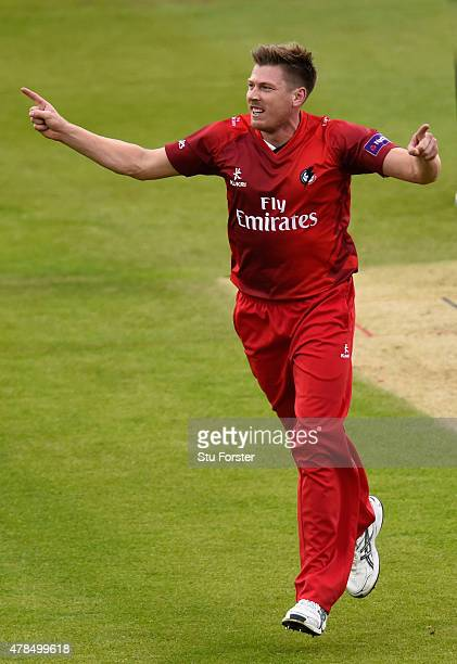 Lancashire bowler James Faulkner celebrates the wicket of Phil Mustard during the NatWest T20 blast between Durham Jets and Lancashire Lightning at...