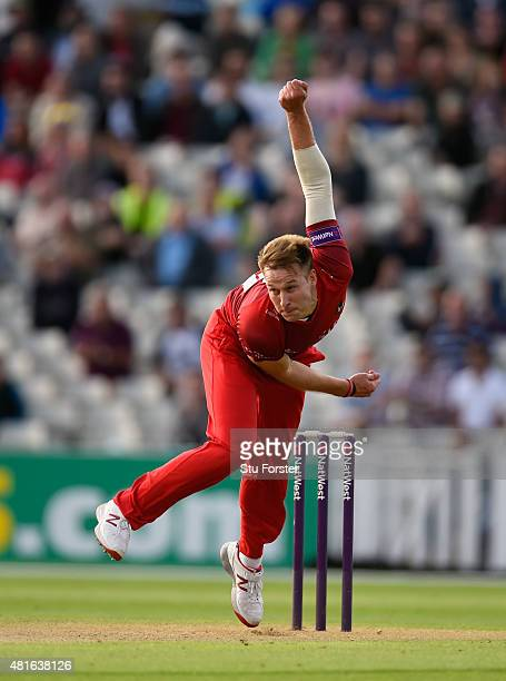 Lancashire bowler Kyle Jarvis in action during the NatWest T20 blast match between Birmingham Bears and Lancashire Lightning at Edgbaston on July 17...