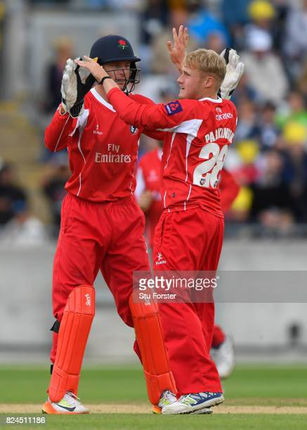 Lancashire bowler Matthew Parkinson celebrates a wicket with team mates during the Natwest T20 Blast match between Birmingham Bears and Lancashire...