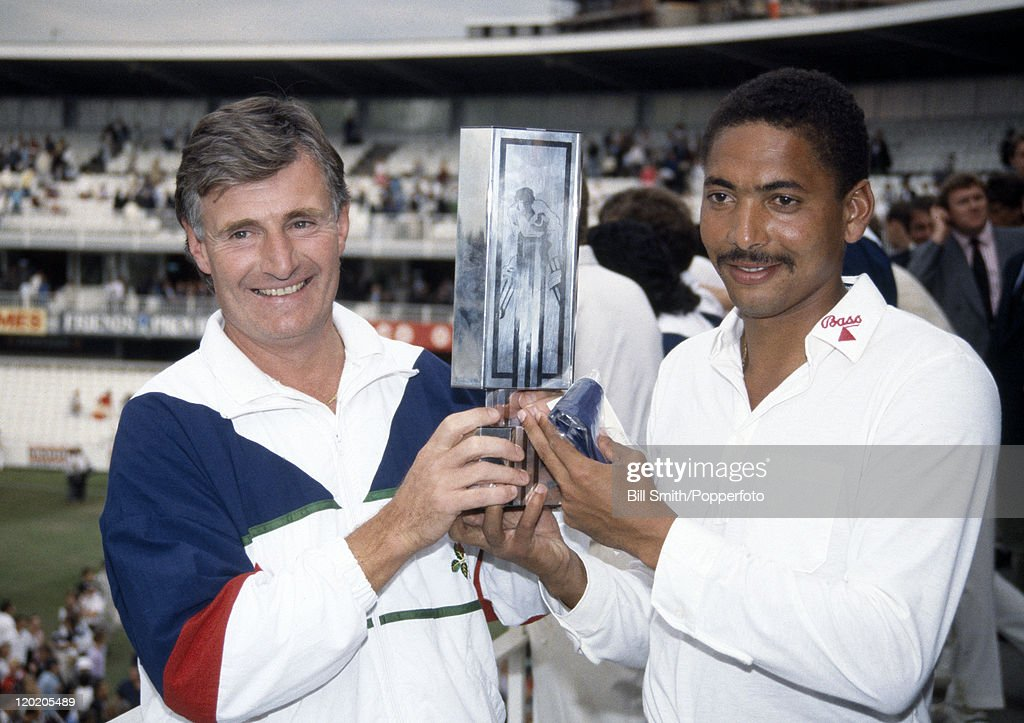 Lancashire captain David Hughes and Man of the Match Philip DeFreitas holding the Natwest Trophy after their victory over Northamptonshire in the...