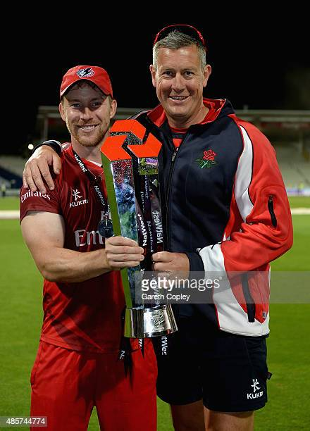 Lancashire captain Steven Croft and coach Ashley Giles celebrates winning the NatWest T20 Blast Final between Lancashire Lighting and...