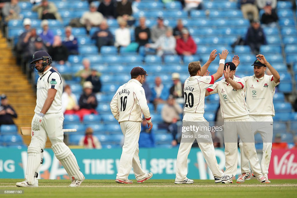 Lancashire celebrate as Jack Leaning of Yorkshire departs the pitch during day two of the Specsavers County Championship: Division One match between Yorkshire and Lancashire at Headingley on May 30, 2016 in Leeds, England.