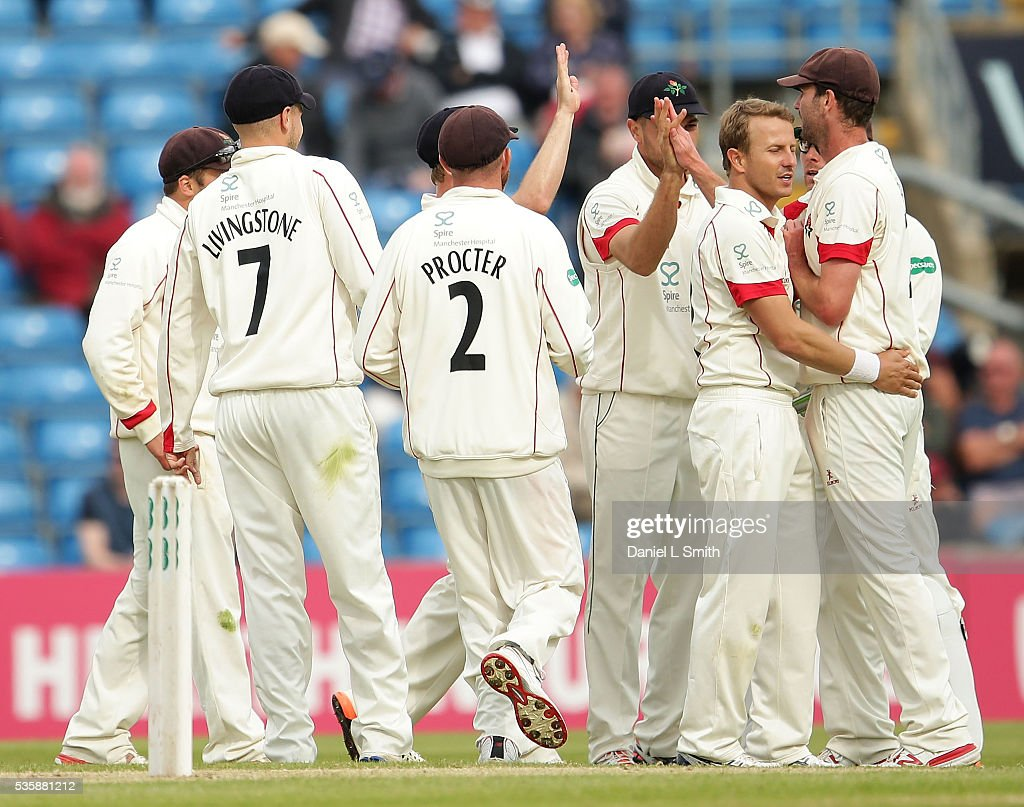 Lancashire celebrate the dismissal of Jack Leaning of Yorkshire during day two of the Specsavers County Championship: Division One match between Yorkshire and Lancashire at Headingley on May 30, 2016 in Leeds, England.
