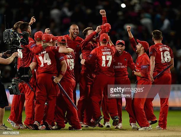 Lancashire celebrate winning the NatWest T20 Blast Final between Lancashire Lighting and Northamptonshire Steelbacks at Edgbaston on August 29 2015...