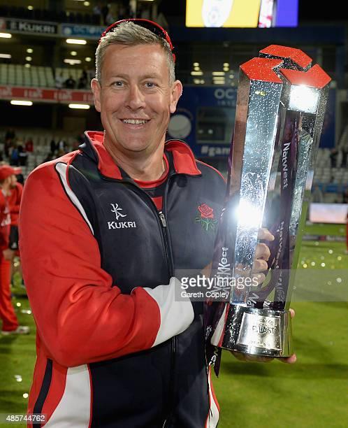Lancashire coach Ashley Giles celebrates winning the NatWest T20 Blast Final between Lancashire Lighting and Northamptonshire Steelbacks at Edgbaston...