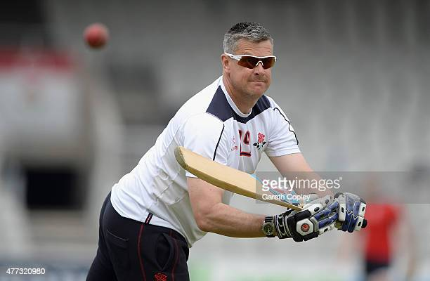 Lancashire coach Ashley Giles during the LV County Championship division two match between Lancashire and Leicestershire at Old Trafford on June 16...