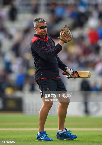 Lancashire coach Ashley Giles in action during the NatWest T20 blast match between Birmingham Bears and Lancashire Lightning at Edgbaston on July 17...