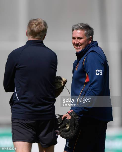 Lancashire coach Glen Chapple chats with Essex coach Chris Silverwood during day four of the Specsavers County Championship Division One match...