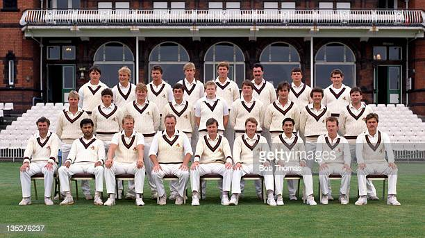 Lancashire County Cricket Club at Old Trafford in Manchester circa April 1987 Back row left to right Ian Austin Graham Lloyd Dexter Fitton Nick Speak...
