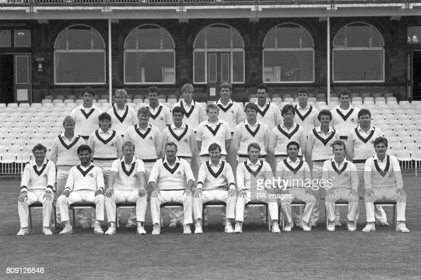 Lancashire County Cricket Club back row left to right Ian Austen Graham Lloyd Dexter Fitton Nick Speake Andrew Hayhurst Tony Murphy Warren Hegg Kevin...