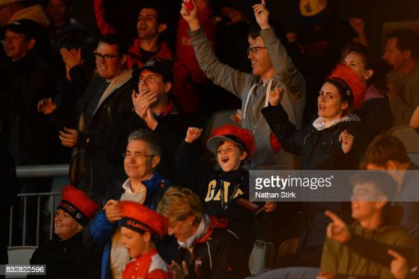 Lancashire fans dancing during the NatWest T20 Blast match between Lancashire Lightning and Worcestershire Rapids at Old Trafford on August 16 2017...