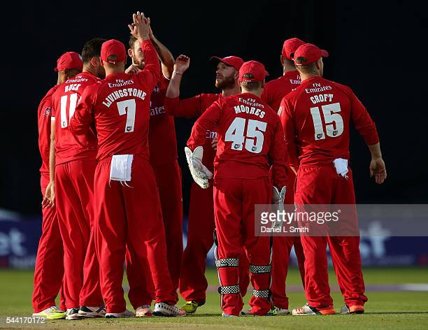 Lancashire Lightning celebrate the dismissal of Alex Lees of Yorkshire Vikings during the NatWest T20 Blast match between Yorkshire Vikings and...