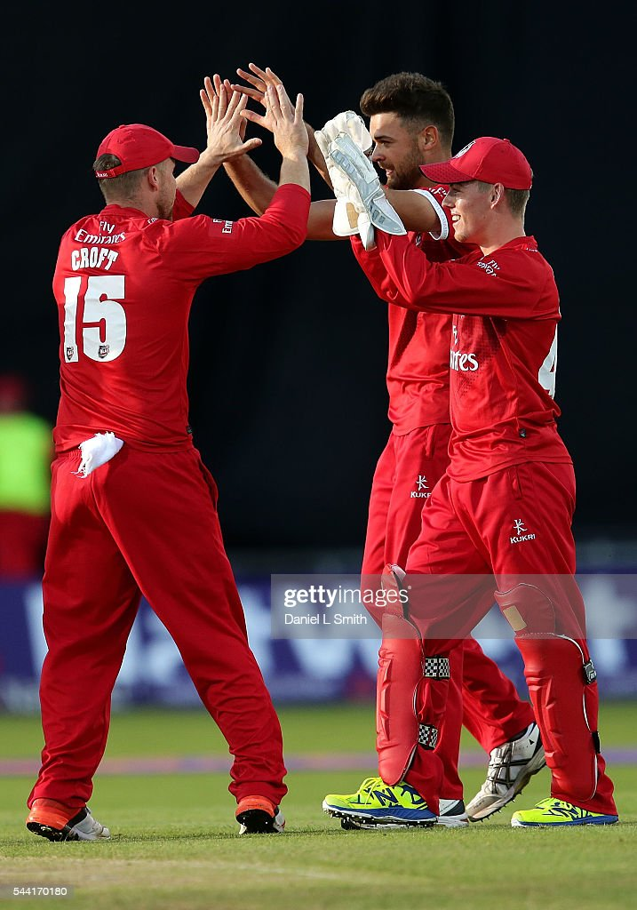 Lancashire Lightning celebrate the dismissal of Alex Lees of Yorkshire Vikings during the NatWest T20 Blast match between Yorkshire Vikings and Lancashire Lightning at Headingley on July 1, 2016 in Leeds, England.