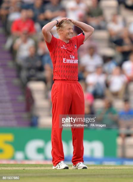 Lancashire Lightning's Glen Chapple reacts after a missed chance during the Friends Life T20 Quarter Final at The Ageas Bowl Southampton
