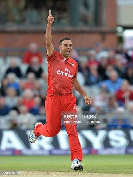 Lancashire Lightning's Kabir Ali celebrates taking the wicket of Yorkshire Vikings Andrew Gale during the NatWest T20 Blast match at Emirates Old...