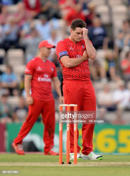 Lancashire Lightning's Mitchell McClenaghan reacts after a 6 is scored off of his bowling during the Friends Life T20 Quarter Final at The Ageas Bowl...