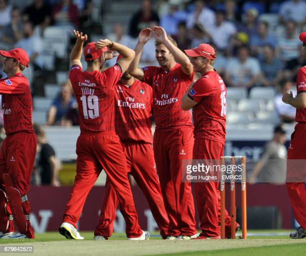 Lancashire Lightning's Tom Smith celebrates after he takes the wicket of Yorkshire Vikings' Andrew Gale