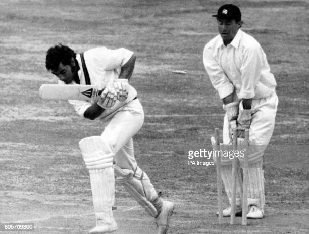 Lancashire opener Farokh Engineer is clean bowled by Norman Featherstone of Middlesex for 96 runs at Lord's in the final day's play