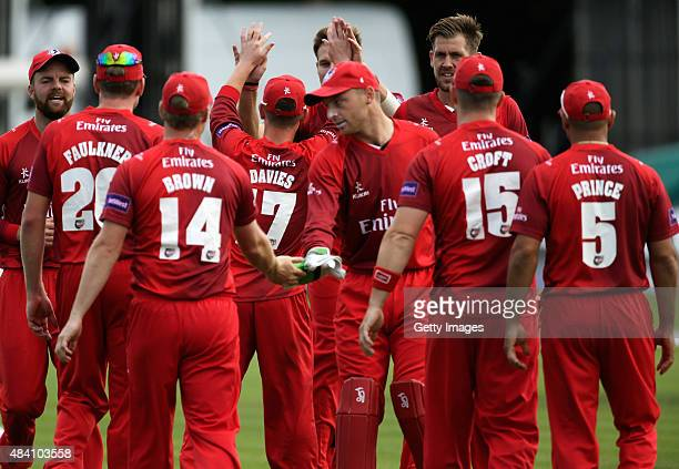 Lancashire players celebrate the wicket of DanielBellDrummond of Kent during the NatWest T20 Blast quarter final match between Kent Spitfires and...
