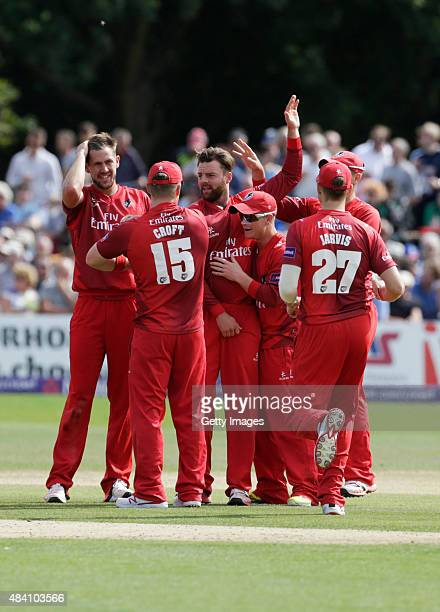 Lancashire players celebrate the wicket of Sam Northeast during the NatWest T20 Blast quarter final match between Kent Spitfires and Lancashire...