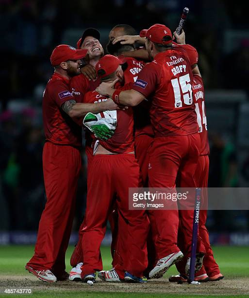 Lancashire players celebrate there victory against Northamptonshire after the NatWest T20 Blast Final between Lancashire Lightning and...